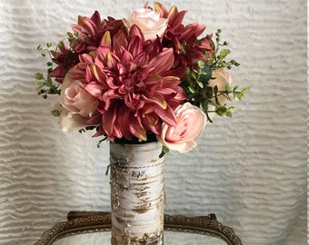 Artificial Floral Arrangement with Dahlias, Roses and Eucalyptus Greenery in a Faux Birch Glass Vase