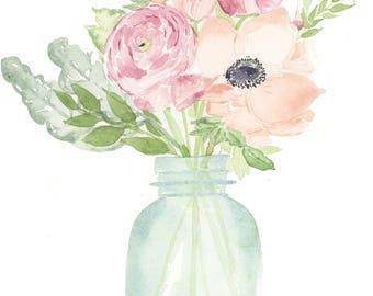 Floral Mason Jar Digital File