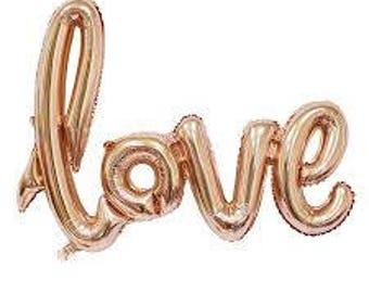 Love Script Non Helium Balloon. Love Air fill Balloon. Wedding, Anniversary, Engagement, Bridal Shower, He do. Gold, Rose Gold, Silver.