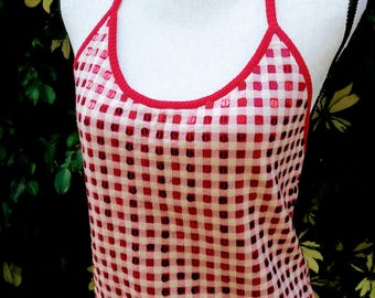 70's style backless knit gingham halter top with sequins vintage MOSCHINO cheap and chic