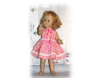 "Pink Blooms -Handmade Dress for 20"" dolls like Vintage Chatty Cathy Dolls. Clothes are handmade in USA. Pink Flower dress for vintage dolls"