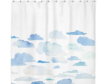 Watercolour Clouds Shower Curtain