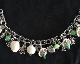 Charm Bracelet with Sea Shells and Sea Glass