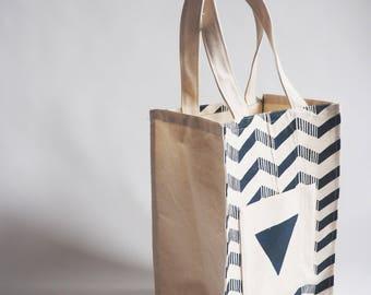 Hand made screen printed teal arrow patterened tote bag