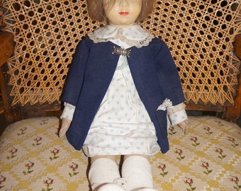 Antique 1930 Raynal doll felt natural hair