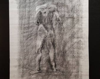 Original Charcoal Drawing / Sketch on Toned Paper