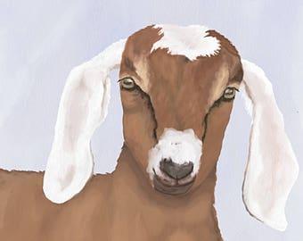 Original Print Baby Goat Greeting Card