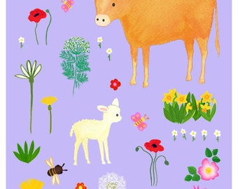 Little cow and lamb with flowers 8 x 10 print - nursery art, kids print, children and baby