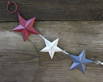 Star Tin Garland, Americana Star Garland, Primitive Decor, Farmhouse Decor, Craft Supplies, Party Supplies, Americana Decor, Patriotic Decor