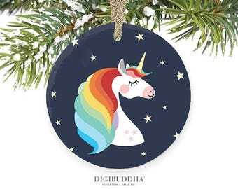 Unicorn Ornament Rainbow Unicorn Ornament Unicorn Christmas Present Girl Christmas Gift Rainbow Unicorn Gift for Girls - Chari