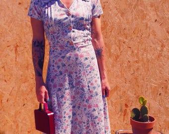 Vintage 1940s-1950s floral dress
