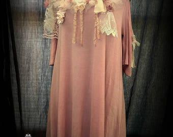 Romantic Shabby Chic Bohemian Tunic or Dress Open Shoulder Wedding Asymmetrical byTattered Magnolia REDUCED!