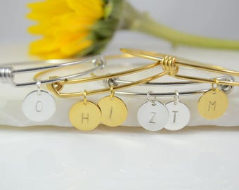 Initial Bracelet, Initial Bangle , Personalized Bracelet, Girlfriend Bracelet, Initial Disc Bracelet, Gift for Her, Girlfriend Jewelry