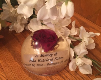 Funeral flower paperweight