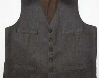 Vintage Brown Wool Pinstripe Vest sz 38 ~ waistcoat