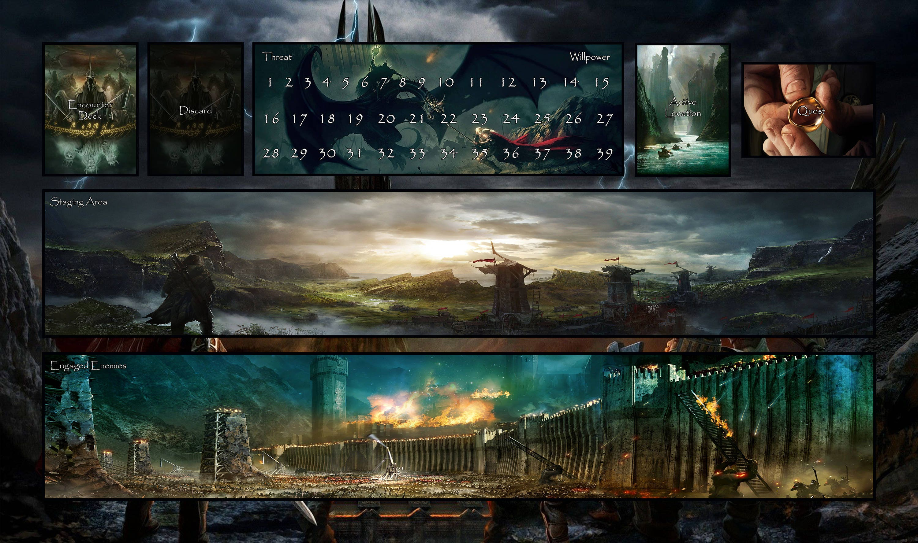 Lord Of The Rings Lcg Game Mat Mordor 14 X 24