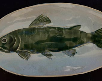 Pottery Glazed Fish Platter
