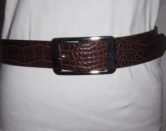 Vintage women's brown faux leather belt with silver tone metal buckle/Nini's Finland 85 cm women's belt /Made in Finland women's belt