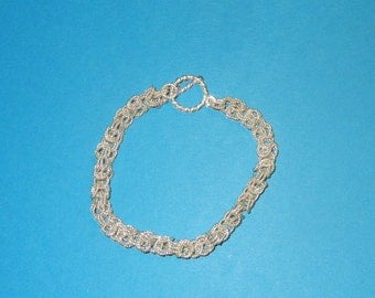 Solid Sterling Silver .925 Byzantine/Chain Mail Style Bracelet New Handcrafted