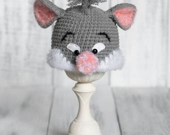 Newborn Mouse Hat, Newborn Animal Hat, Crochet Mouse Hat, Newborn Photo Prop, Grey Mouse Hat, Crochet Animal Hat, Baby Hat, Newborn Props