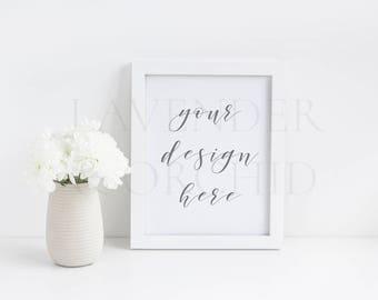 White frame mockups, White Picture frame mockup, Styled Stock Photo, 8x10 White frame, Instant download, Product mockups, LavenderAndOrchid