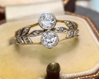 Antique Edwardian diamond ring in 18-carat gold and platinum