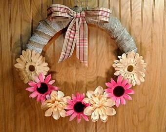 Burlap Wreath,  door decor, Burlap wrapped door  wreath, pink coneflowers, cream daisies, plaid bow, front door decor
