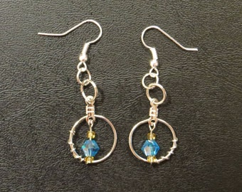 Beautiful Blue Crystal Earrings with wire wrapping