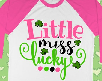 Lucky svg - St Patricks Day Svg - St patrick svg - Smrock svg - Clover svg - Irish svg - Little miss svg - Spring svg - DXF, png, pdf, eps