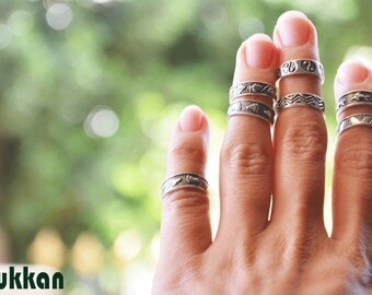 Handmade Midi Finger Knuckle Rings, oriental vintage  925 silver, adjustable and fashionable