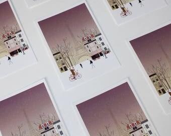 Paris City Life Illustration-Stationary card-Polaroid style