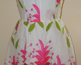 White and Floral Print Short Halter Dress Vintage Inspired Size XS S SALE!