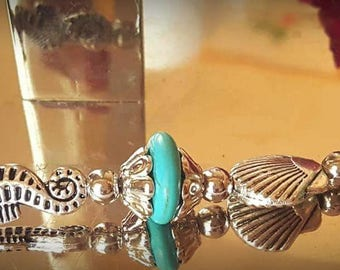 Turquoise Seahorse Bracelet w/matching Earrings