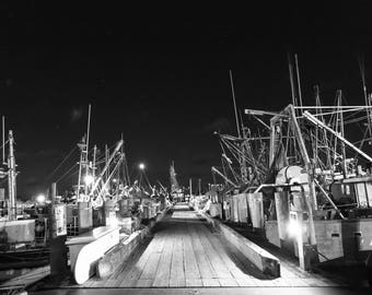 Gosmans dock, Montauk-New York. Night photography, art, wall art.