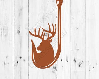 Deer and Hook Svg- Hunting and Fishing svg - INSTANT DOWNLOAD - 1-Dxf, Eps, Pdf, Png, Svg - Cricut - Silhouette