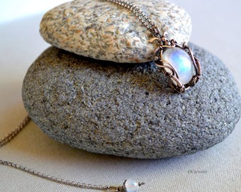June Birthstone,  High quality Moonstone Pendant,  Moonstone Necklace ,  Oxidized Sterling Silver Jewelry