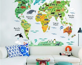Kids world map wall sticker - educational - large - removable decals - nursery decor gift