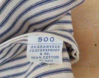 Vintage Ticking Pillowcases Fabric Dark navy off white cotton