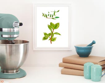 mint printable - mint print - mint leaf prints - mint wall decor - Herbs printable - Herbs kitchen wall décor - Herbs kitchen art - wall art