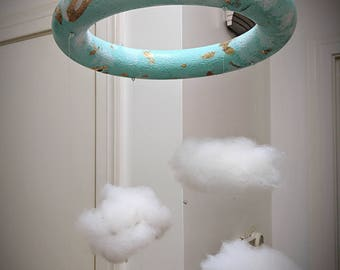 Whimsical cloud mobile, swarovski crystal, nursery, baby shower, rain cloud (: