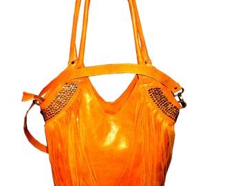 Boho leather hand bag