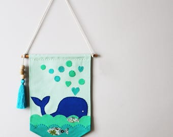 Whale Wall Banner for Nursery, Kids, Girls, Boys Bedroom, Playroom, Wall Flag designed with fabric appliques, Baby Gift, Wall Art