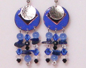 Three Layer Enameled Earrings with Beaded Dangles
