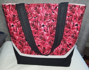 New tote bag purse with red roses on body and black handles