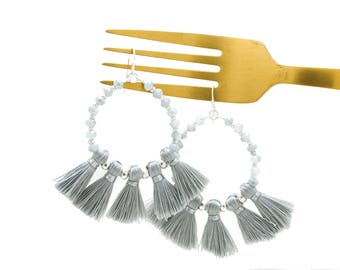 Large Beaded Hoop Earrings with Threaded Tassels, Statement Earrings, Grey Gray Tassel Earrings, Boho Bohemian Earrings, Multi Tassel Hoop
