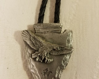 Vintage Pewter Bolo Tie, Arrowhead and Eagle Design