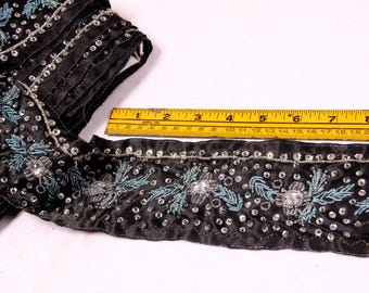1 Yard Trim, Beads, Sequins, Black, Silver, Light Blue, Rhinestones