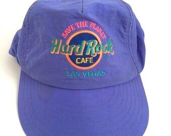 Vintage Hard Rock Cafe Trucker 1980s Adjustable Las Vegas Purple 80's