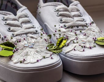 Personalised Wedding Trainers (Vans) - The 'Audrey' white lace flower Vans with opal beading and embroidery.