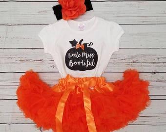 baby/toddler/big Girls Halloween Tee, orange petti skirt, and headband - Halloween outfit/orange skirt/Little Miss Bootiful Tee